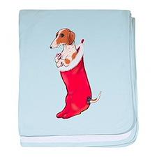 Piebald Dachshund Stocking baby blanket
