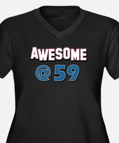 Awesome at 59 Women's Plus Size V-Neck Dark T-Shir