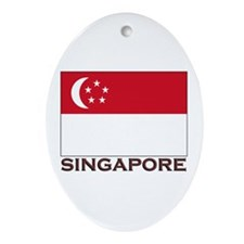 Singapore Flag Stuff Oval Ornament