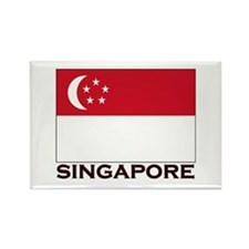 Singapore Flag Gear Rectangle Magnet