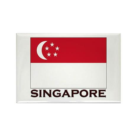 Singapore Flag Gear Rectangle Magnet