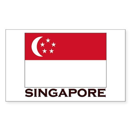 Singapore Flag Gear Rectangle Sticker