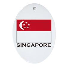 Singapore Flag Gear Oval Ornament