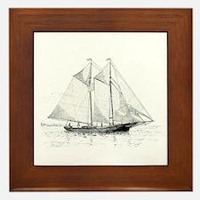 American Fishing Schooner Framed Tile