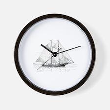 American Fishing Schooner Wall Clock