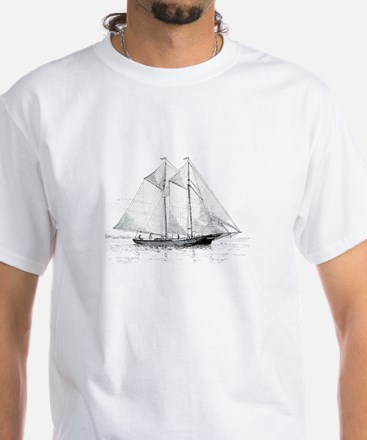 American Fishing Schooner White T-Shirt