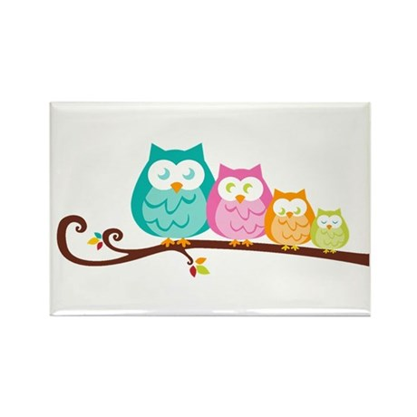Owl family Rectangle Magnet