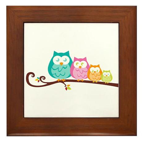 Owl family Framed Tile
