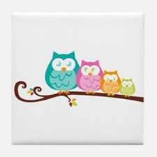 Owl family Tile Coaster