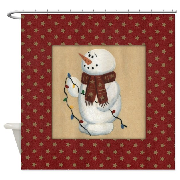snowman with lights shower curtain by mousefx