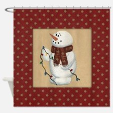 Snowman With Lights Shower Curtain
