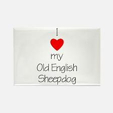 I Love My Old English Sheepdog Rectangle Magnet (1