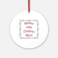 Merry Maltese Ornament (Round)