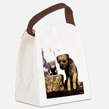 Border Terrier and Rat Canvas Lunch Bag