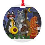 Jazz Cats Round Ornament