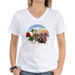 Treat - 4 Cavaliers Women's V-Neck T-Shirt