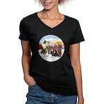 Treat - 4 Cavaliers Women's V-Neck Dark T-Shirt