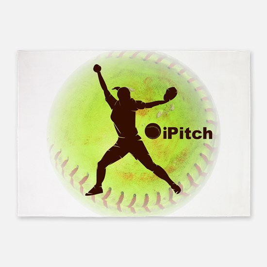 iPitch Fastpitch Softball 5'x7'Area Rug