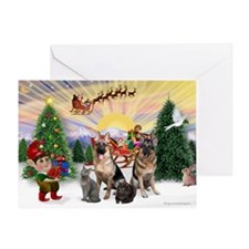 TakeOff3-2dogs-2cats Greeting Card
