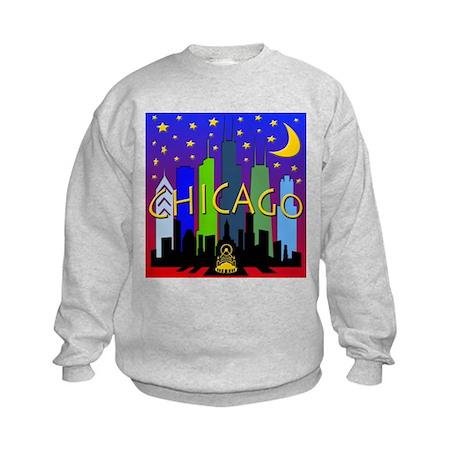Chicago Skyline nightlife Kids Sweatshirt