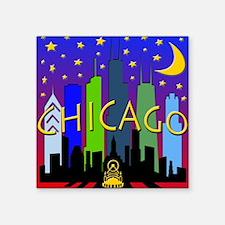 "Chicago Skyline nightlife Square Sticker 3"" x 3"""