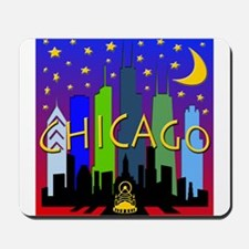 Chicago Skyline nightlife Mousepad