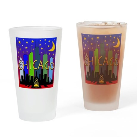 Chicago Skyline nightlife Drinking Glass