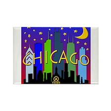 Chicago Skyline nightlife Rectangle Magnet