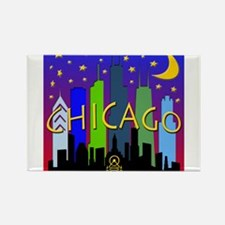 Chicago Skyline nightlife Rectangle Magnet