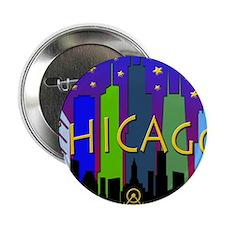 """Chicago Skyline nightlife 2.25"""" Button"""
