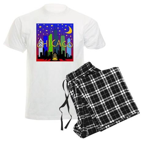 Chicago Skyline nightlife Men's Light Pajamas