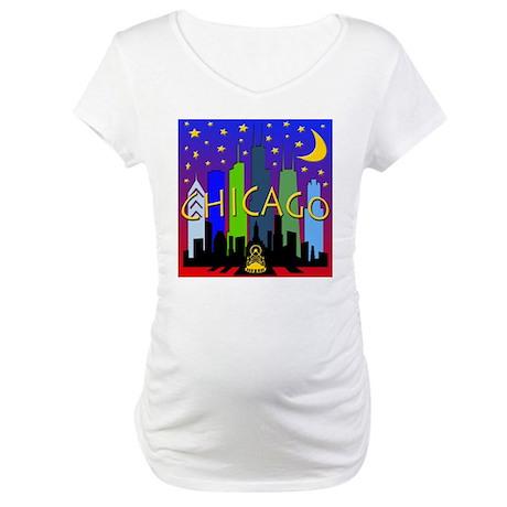 Chicago Skyline nightlife Maternity T-Shirt