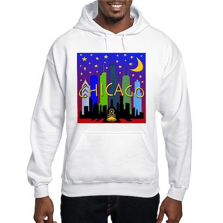 Chicago Skyline nightlife Hooded Sweatshirt