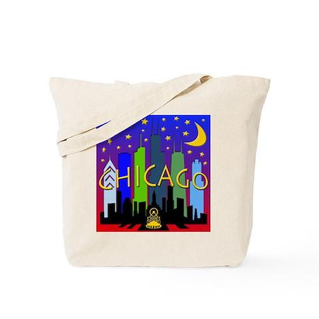 Chicago Skyline nightlife Tote Bag
