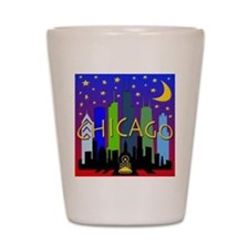 Chicago Skyline nightlife Shot Glass