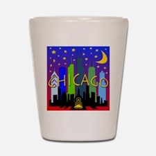 Chicago Skyline nightlife Shot Glass
