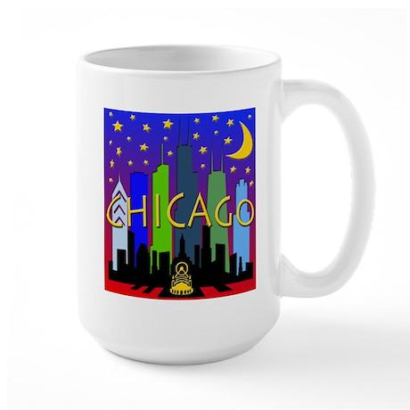Chicago Skyline nightlife Large Mug
