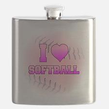I Heart Softball Flask