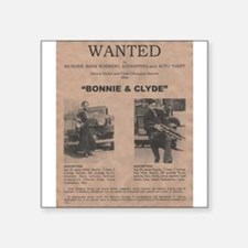 "Bonnie and Clyde Wanted Poster Square Sticker 3"" x"