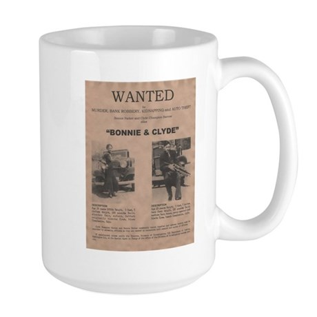 Bonnie and Clyde Wanted Poster Large Mug
