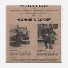 Bonnie and Clyde Wanted Poster Tile Coaster