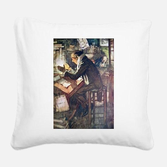 Cratchit & Scrooge Canvas Pillow