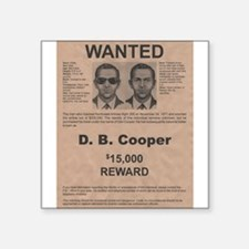 "DB Cooper Wanted Poster Square Sticker 3"" x 3"""