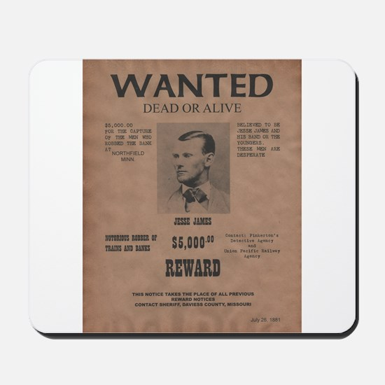 Jesse James Wanted Poster Mousepad