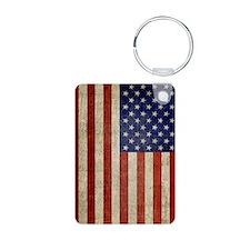Vintage USA Flag Aluminum Photo Keychain