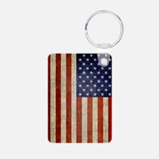 Vintage USA Flag Aluminum Photo Keychain