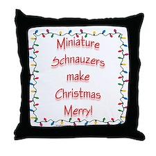 Merry Mini Schnauzer Throw Pillow
