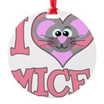 love mice.png Round Ornament