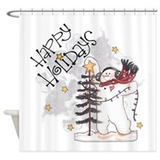 Happy Holidays 2556x2592.png Shower Curtain