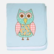 Cute Aqua owl baby blanket